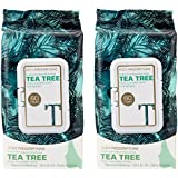 Body Prescriptions - 2 Pack (60 Count Each) Tea Tree Facial Cleansing, Pore Refining Wipes