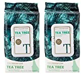 Cleansing Body Tea - Body Prescriptions - 2 Pack (60 Count Each) Tea Tree Facial Cleansing, Pore Refining Wipes
