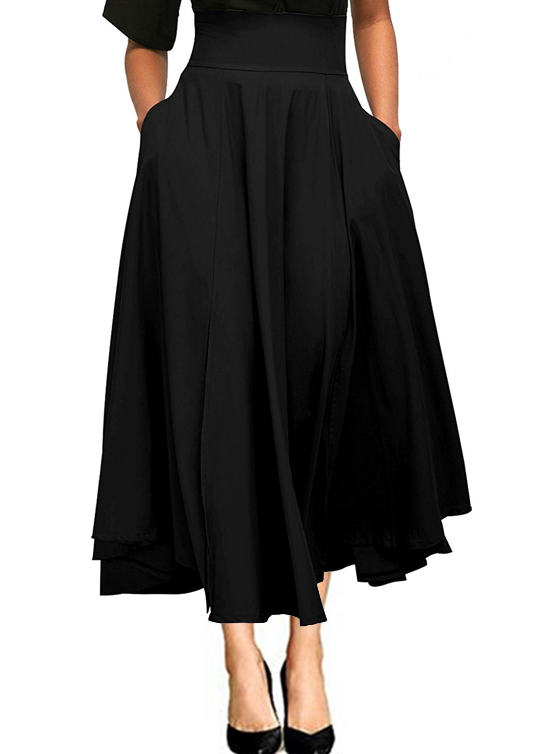 Ranphee High Waist Maxi Skirt Women Solid A-Line Pleated Belted Casual Long Skirt with Pockets