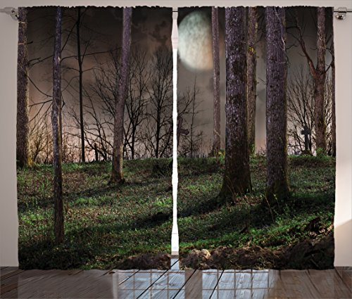 Ambesonne Gothic Decor Collection, Dark Night in the Forest with Full Moon Horror Theme Grunge Style Halloween Photo, Living Room Bedroom Curtain 2 Panels Set, 108 X 90 Inches, Brown Green Yellow