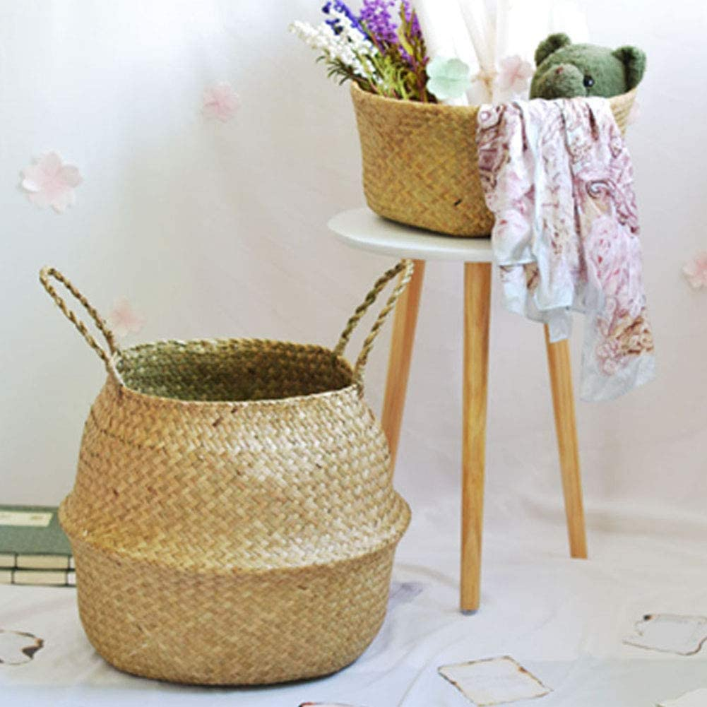 loinhgeo Wicker Storage Foldable Basket Bamboo Seagrass Flower Pot Planter Garden Decor Living Room Bathroom Bedroom Storage Container XXS