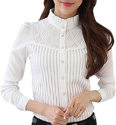 Camisa de Mujer,riou Camiseta de pie con Encaje Camisa de Gasa de Manga Larga y Delgada Casual Oficina Elegantes T Shirt Blusa Sexy Botón Señoras Tops riou: Amazon.es: Ropa y accesorios