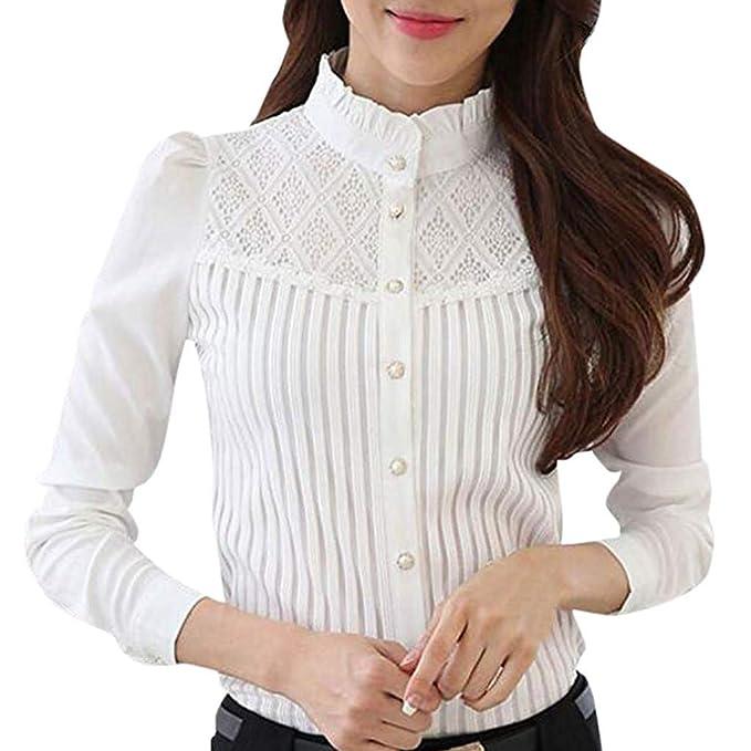 a8b5763b06da JUTOO 2019 Ropa de Mujer Camisa Abotonada de Gasa Plisada con Cuello Vintage  de Manga Larga Blusa de Encaje de Manga Larga S-XXXXL: Amazon.es: Ropa y ...