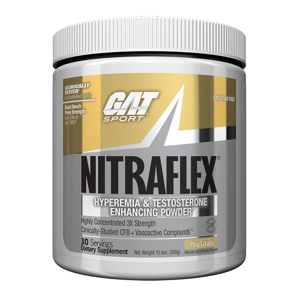 GAT - NITRAFLEX - Testosterone Boosting Powder, Increases Blood Flow, Boosts Strength and Energy, Improves Exercise Performance, Creatine-Free (Piña Colada, 30 Servings) by GAT Sport