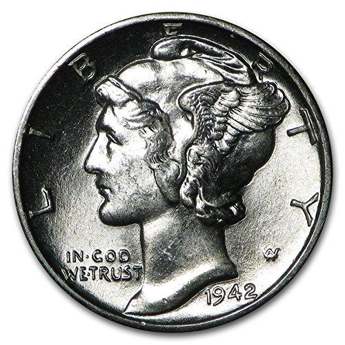 - 1942 Gem Brilliant Uncirculated Silver Mercury Dime Choice BU
