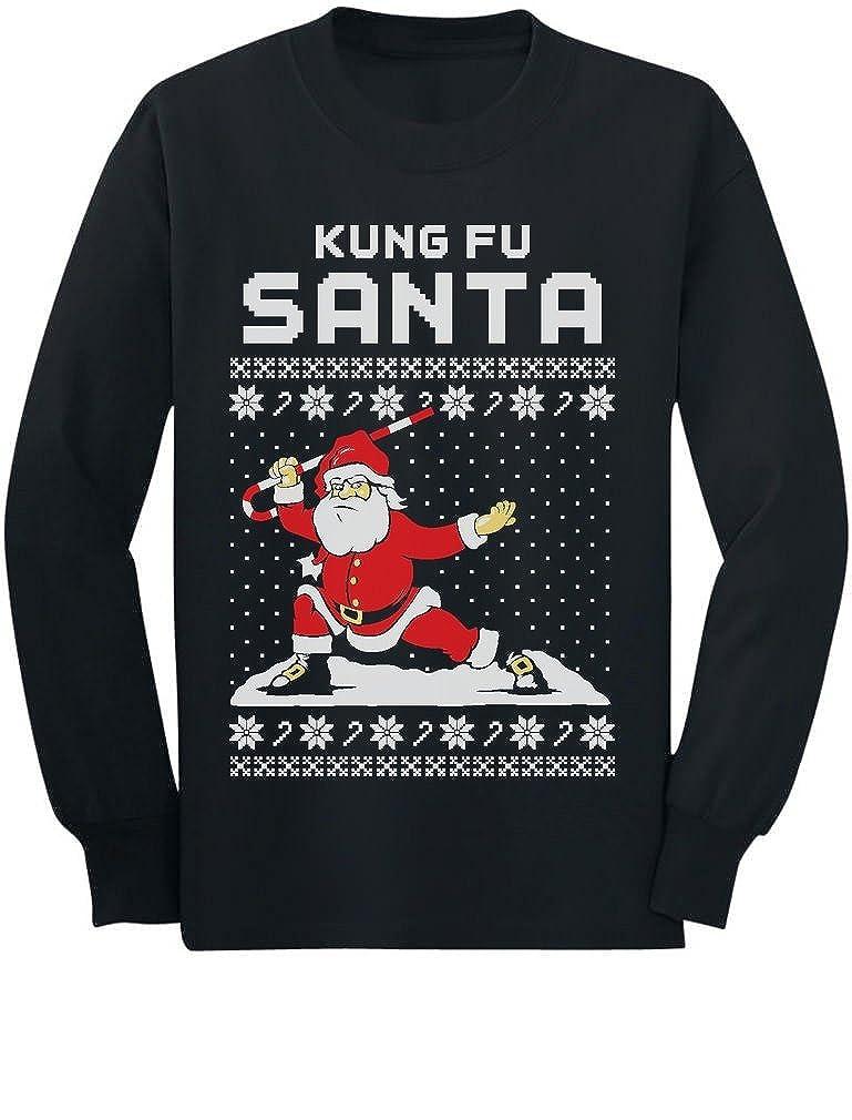 Kung Fu Santa Ugly Christmas Sweater Funny Youth Kids Long Sleeve T-Shirt Medium Black GhPh3rZgCmPlCm9Q