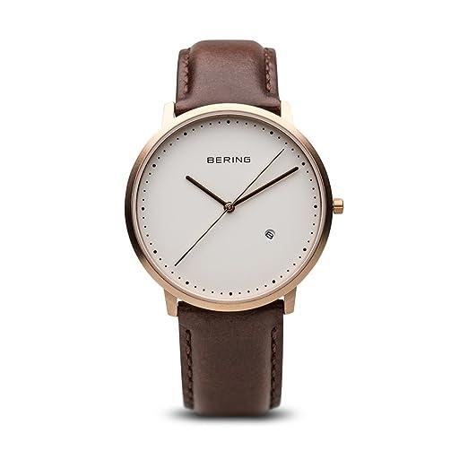 BERING Reloj Analógico para Hombre de Cuarzo con Correa en Cuero 11139-564: Amazon.es: Relojes