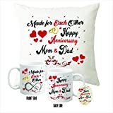 "Picrazee Happy Anniversary Gifts Combo for Mom-Dad/Parents/Mother-Father (Printed 12"" x 12"" Velvet Cushion with Filler, White Coffee Mug & Fridge Magnet)"