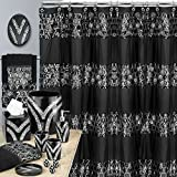 Popular Bath Sinatra Black 8 Piece Shower Curtain and Resin Wastebasket Set