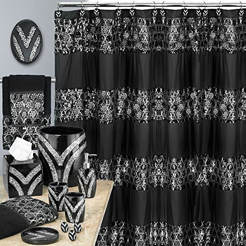 Popular Bath Sinatra Black 8 Piece Shower Curtain and Resin Wastebasket Set