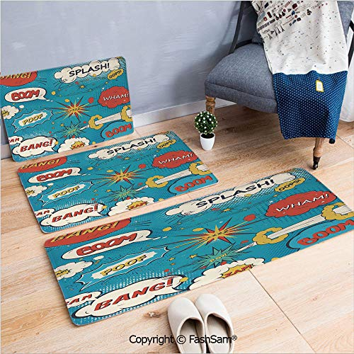 3 Piece Flannel Doormat Pop Art Style Comic Speech Bubbles Funny Humor Expressions Boom Splash Bang Decorative for Kitchen Rugs Carpet(W15.7xL23.6 by W19.6xL31.5 by W31.4xL47.2)