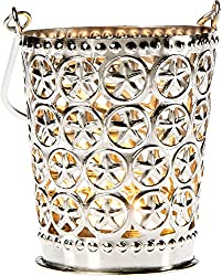 Shadow Lantern Candle Holder (3-Inch, Star Design, Punched Tin) - For Home Decor, Parties, and Wedding Decorations