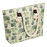 Large Jute Tote Beach Bag-Top Zipper Inner Pocket with Nature Thick Rope Cotton Handle 20'' L x 14.5'' H x 5.2'' W(Leaf)