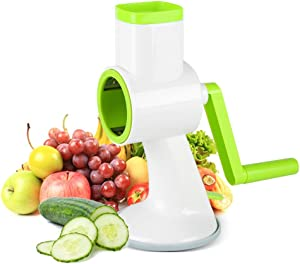 Vegetable Slicer,Rotating Mandoline and Countertop Food Slicer, Chopper, Efficient and Fast Vegetable Fruit Cutter Cheese Shredder
