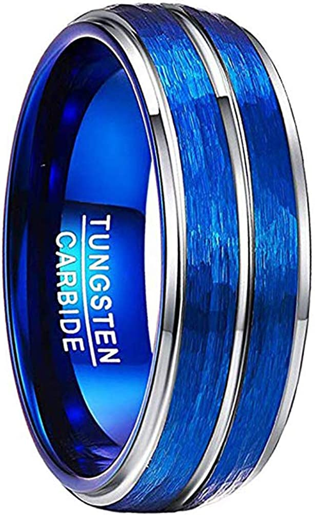 VAKKI Men's 8mm Blue Domed Tungsten Carbide Rings Hammered and Brushed Finish Wedding Bands Step Edge Comfort Fit Size 7-12