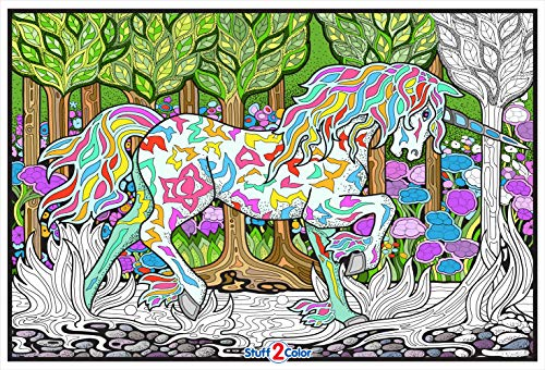 Stuff2Color Forest Unicorn - 22x32.5 Giant Line Art Coloring Poster (Great for Family Time, Adults, Kids, Classrooms, Care Facilities and Group Activities)