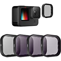 TELESIN 4-Pack Lens Filter CPL ND8 ND16 ND32 Compatible for GoPro Hero 10 Hero 9 Black, Neutral Density and Polarizing…