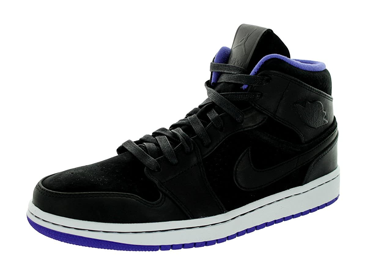 size 40 741cf 8673e Amazon.com   NIKE Air Jordan 1 Mid Nouveau Men s Shoes Black Dark Concord White  629151-018 (SIZE  11)   Basketball