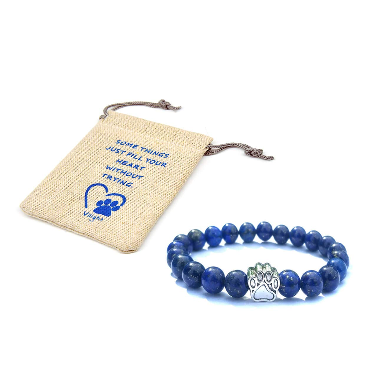 bluee VILIGHT Lost Pet Memorial Paw Print Natural Stone Bracelet Set Gifts for Loss of Dog Cat with Card and Package bluee