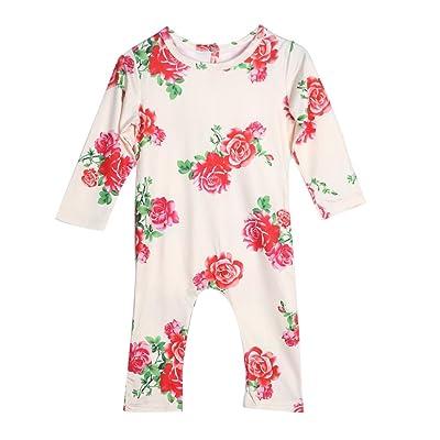 0–24m nouveau-né Filles Floral Coton Barboteuse Combinaison body tenues