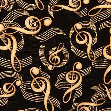 Tissu Timeless Treasures noir notes de musique et paillettes