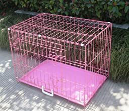 30 2 Door Pink Folding Dog Crate Cage Kennel LC ABS by BestPet