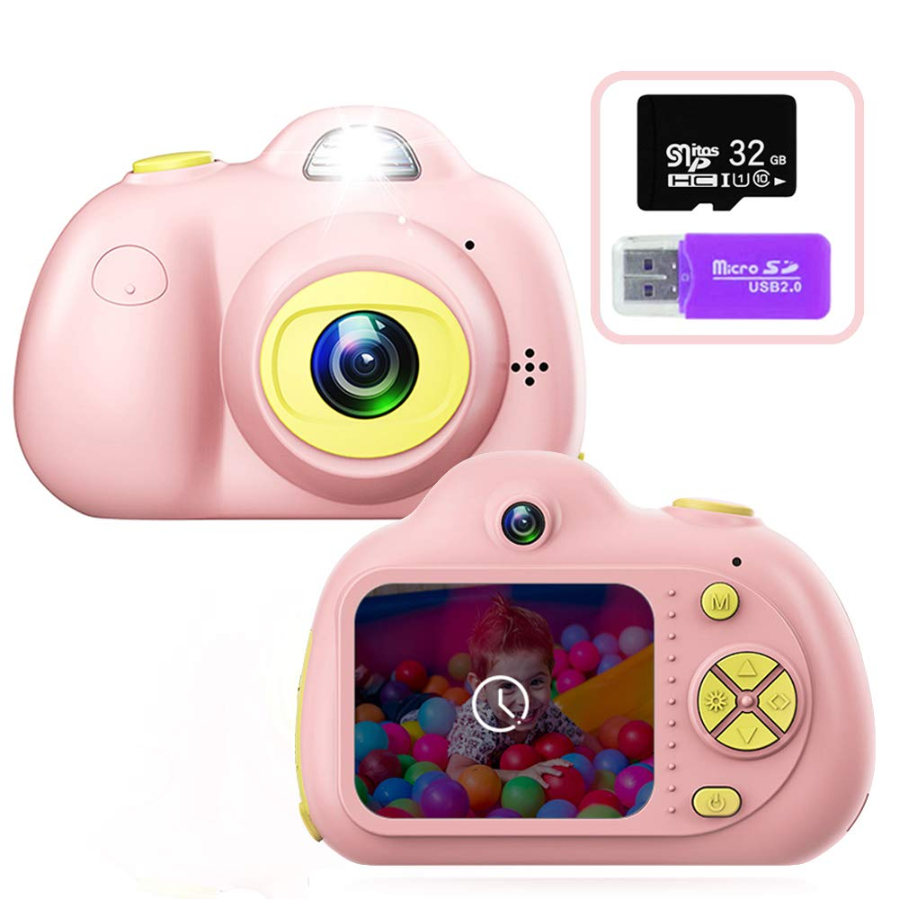 PerfectPromise Kids Toys Camera for Girls Boys,8MP Front and Back Camera 1080P HD Video Recorder Digital Camera for Children Girl Boy Gifts---Pink(32G TF Card Included) by PerfectPromise (Image #1)