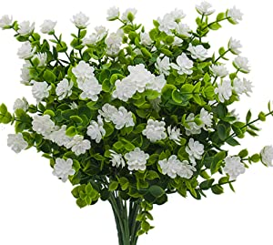 Artificial Flowers, Fake Outdoor UV Resistant Plants Faux Plastic Greenery Shrubs Indoor Outside Hanging Planter Home Kitchen Office Wedding, Garden Decor