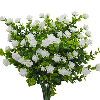0e35dc2357 Artificial Flowers, Fake Outdoor UV Resistant Plants Faux Plastic Greenery  Shrubs Indoor Outside Hanging Planter