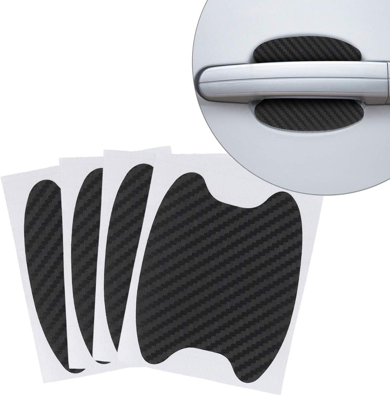 Kwmobile 4x Universal Auto Türgriff Lackschutzfolie Selbstklebend Carbon Schutzfolie Griffmulden Schwarz 6 8 X 8 5 Cm Auto