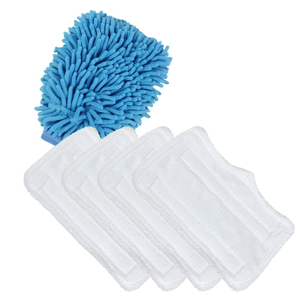 The Elixir Eco Green 5Pcs/set, (4) x Replacement Microfiber Cleaning Pads for Euro Pro Shark Steam Mop S3101 S3111 S3250 with (1) x Microfiber Chenille Scratch-Free Cleaning Mitt