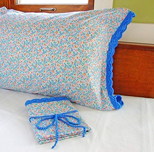 Crochet Pillow Case BLUE FLOWERS and BUTTERFLIES with Crochet Edging, Butterfly Pillow Cases, Butterfly Bedroom Decor, One (1) Standard Size Pillowcase Blue, 100% Cotton Pillowcase