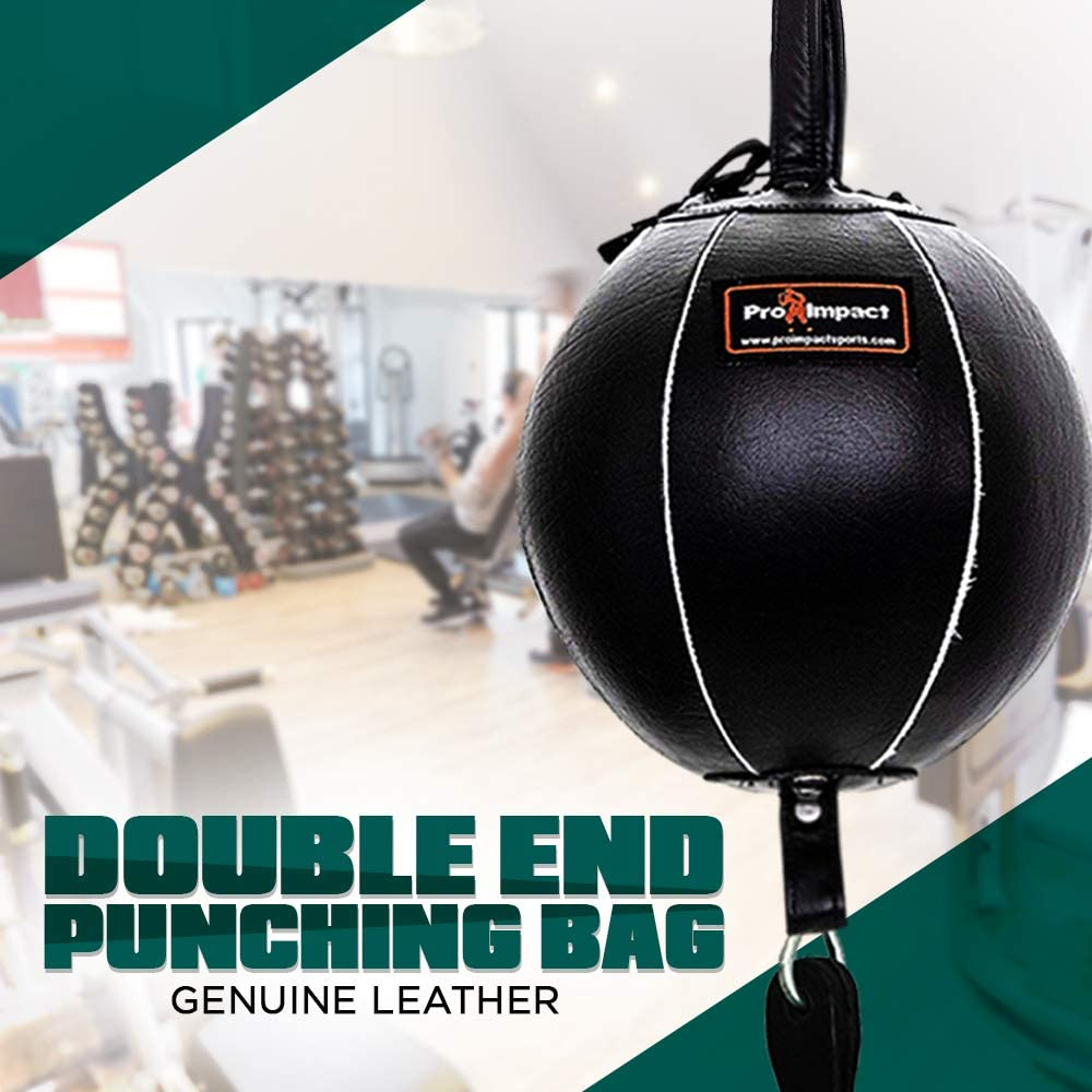 Pro Impact Genuine Leather Double End Boxing Punching Bag - Speed Striking & Dodge Training Ball - Includes Cords & Hooks for Gym Workout MMA Muay Thai (9 Inch) : Sports & Outdoors