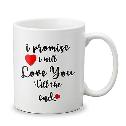 VESPL 1st Valentines Day Special Ceramic Love Quotation Mug, White (051)