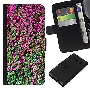 KLONGSHOP // Tirón de la caja Cartera de cuero con ranuras para tarjetas - Bosque Hojas Bush Árbol Verde Violeta - Samsung Galaxy A3 //