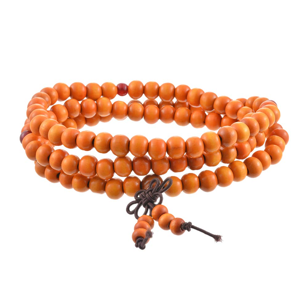 Loweryeah Beads Necklace Chain Bracelet Prayer Meditation Sandalwood Elastic Unisex Natural Wood Buddhist Rosary Mala Wrist(6mm/8mm /216)