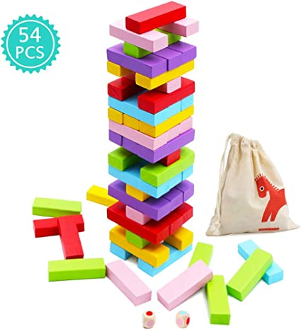 Top Bright 51 pcs Wooden Tumbling Blocks Stacking Tower Game for Kids Coloured Wooden Board Game for Children