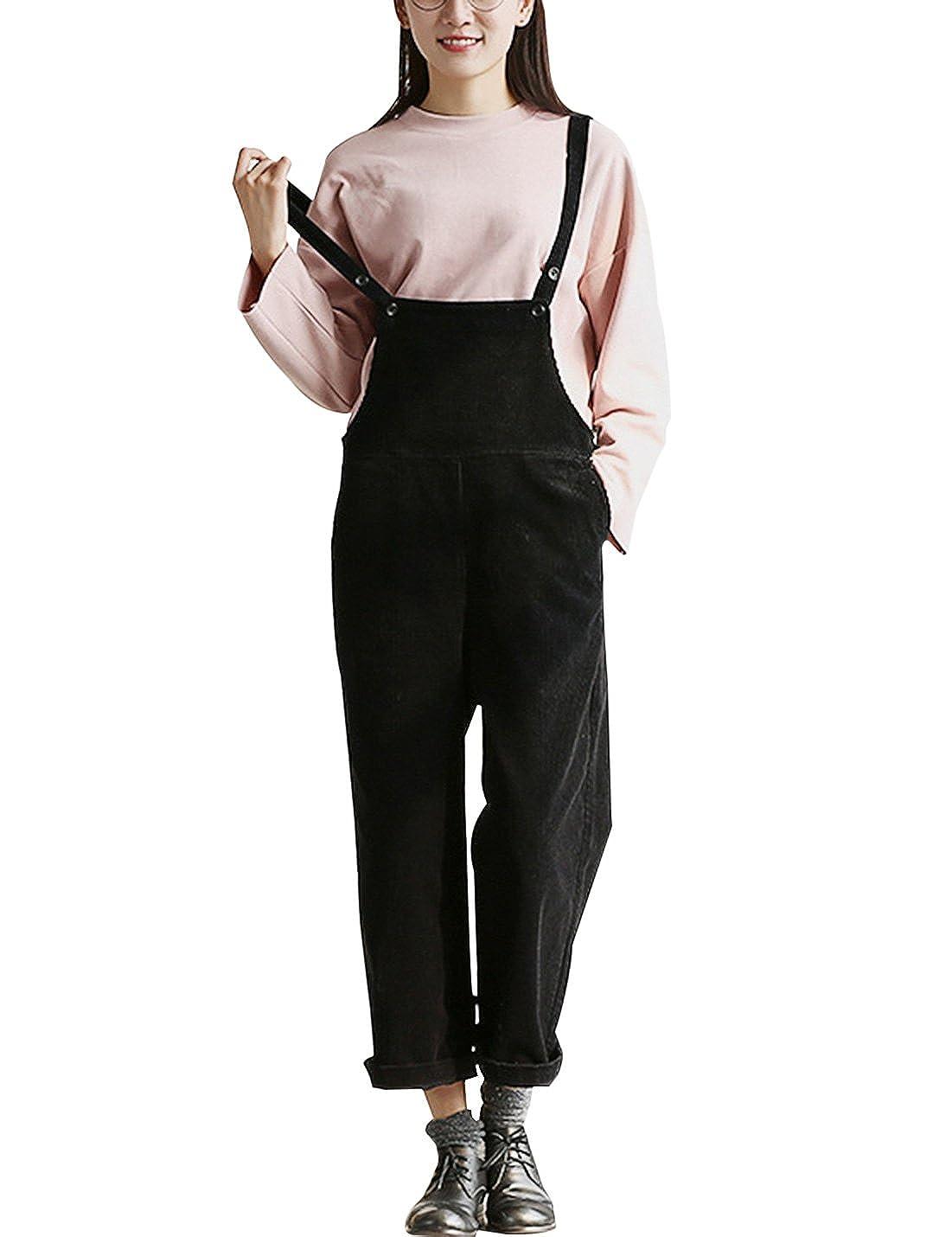 c40b92c53ed Amazon.com  Gihuo Women s Vintage Bib Overall Corduroy High Rise Jumpsuit  Sleeveless Cropped Romper (Black