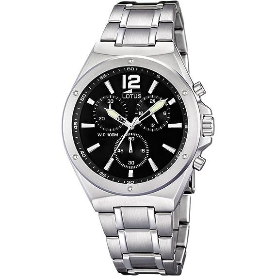 Lotus Watches Lotus-22763 - Reloj para hombres, correa de acero inoxidable color plateado: Amazon.es: Relojes