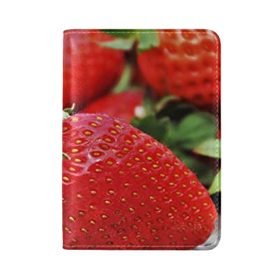 Strawberry Berry Ripe Leather Passport Holder Cover Case Travel One Pocket