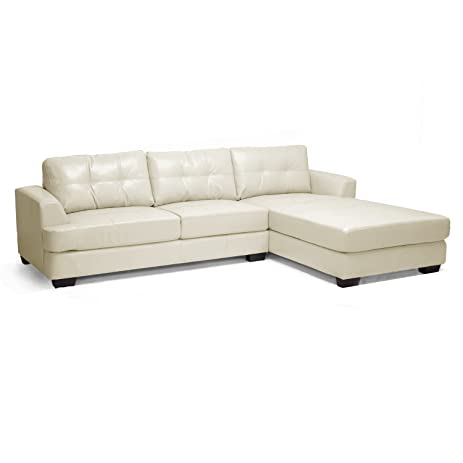 Baxton Studio Dobson Leather Modern Sectional Sofa Cream  sc 1 st  Amazon.com : amazon leather sectional - Sectionals, Sofas & Couches
