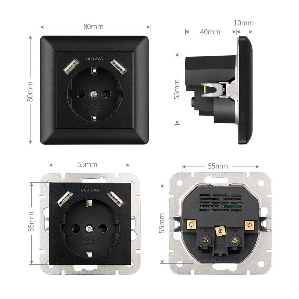 Enchufe pared USB 2.8A Negro, Kaifire Schuko Toma de corriente con 2 puertos USB System 55 Instalación empotrado - Cargador para Smartphone Tablet MP3: ...