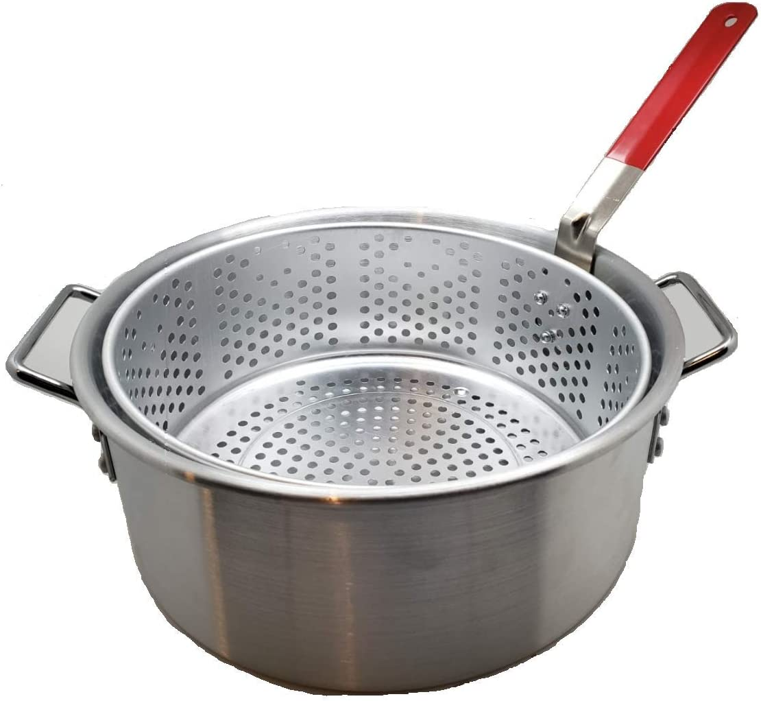 Aluminum Stock Pot with Strainer Basket, 10.5 Quart