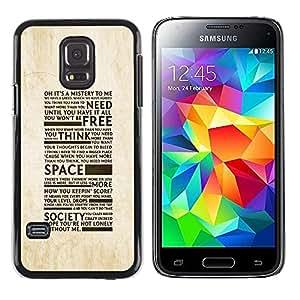 Be Good Phone Accessory // Dura Cáscara cubierta Protectora Caso Carcasa Funda de Protección para Samsung Galaxy S5 Mini, SM-G800, NOT S5 REGULAR! // Freedom Of Society Typography
