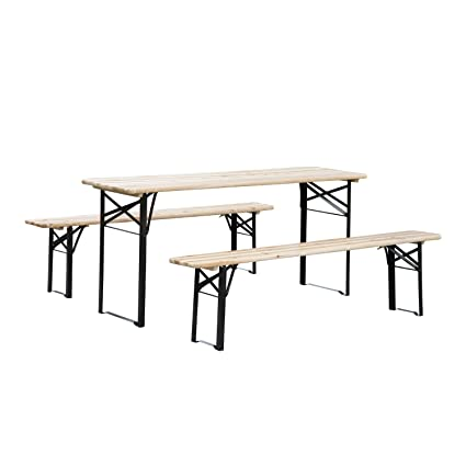 Outsunny 6ft Wooden Folding Picnic Table Set with Benches  sc 1 st  Amazon.com & Amazon.com : Outsunny 6ft Wooden Folding Picnic Table Set with ...