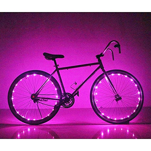 Soondar Super Bright 20-LED Bicycle Bike Rim Lights, Rose