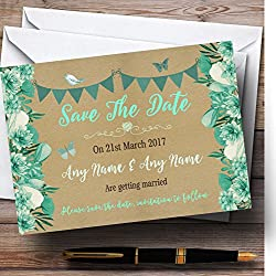 Teal & Mint Green Rustic Bunting & Floral Personalized Wedding Save The Date