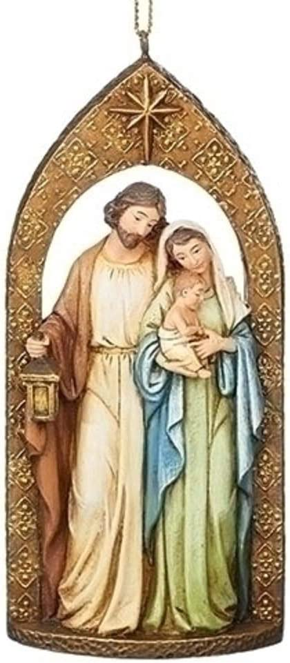 Amazon Com Roman Holy Family In Arch Ornament Jewel Tones With Ornate Pattern 4 75 Inch Furniture Decor