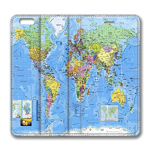 World Map Wall Mural Standing Leather Smart Cover Case Exclusive for iPhone 6 plus with 5.5inch Screen