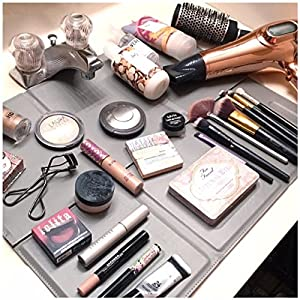 The Matte Make Up Organizer Space Saver turns Bathroom Sink into a Beauty Counter in an Instant-Essential for anyone who has limited bathroom space and is a must have for travel (Grey)